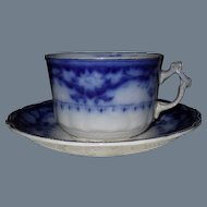Early Myott Crumlin Flow Blue Large Teacup and Saucer