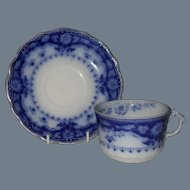 Early Myott Crumlin Flow Blue Teacup and Saucer