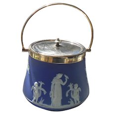 Wedgwood Blue Jasperware Biscuit Barrel