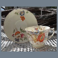 Vintage Aynsley Molded Poppy Teacup and Saucer