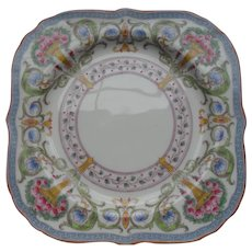Royal Worcester Square Plate Urns Multicolor Roses Flowers