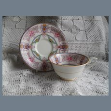 Royal Worcester Teacup and Saucer Multicolor Roses Flowers