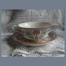 Royal Worcester Cream Soup Urns Multicolor Roses Flowers