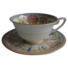 Royal Worcester Teacup and Saucer Urns Multicolor Roses Flowers