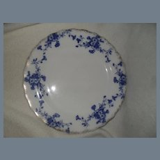 "Furnival 'Carnation' Flow Blue Plate 10 1/2"""