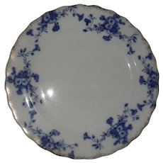 Furnival 'Carnation' Flow Blue Plate 10 1/2""