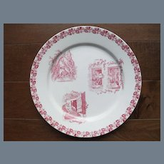 Antique French Red Transferware Plate