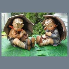 Large Hummel Umbrella Boy and Umbrella Girl Figurines