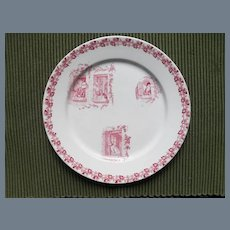 Antique French Dog Red Transferware Plate