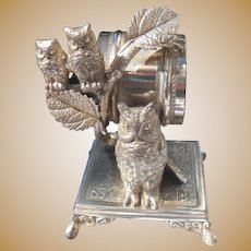 Antique Simpson Hall Miller Silverplate Owl Napkin Ring