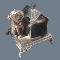 Antique Simpson Hall Miller Silverplate Bulldog House Napkin Ring