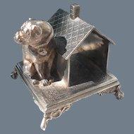 Antique Simpson Hall Miller Silverplate Bulldog House Napkin Ring