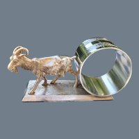 Antique Meriden Co Silverplate Goat Napkin Ring