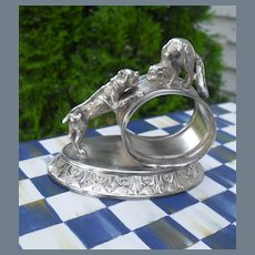 Antique Meriden Co Silverplate Dog and Cat Napkin Ring