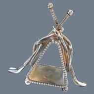 Antique Meriden Silverplate Golf Clubs Napkin Ring