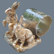 Antique Pairpoint Silverplate Two Rabbits Napkin Ring