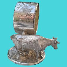 Antique Meriden Co Silverplate Cow Napkin Ring