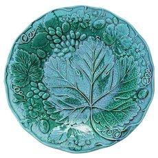 Antique Till & Son Green Majolica Strawberry Grape Plate