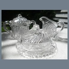 EAPG Glass Child Toy Creamer Sugar Butter Dish