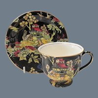 Royal Winton Black Pekin Demitasse Cup and Saucer
