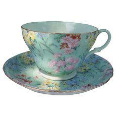 Shelley Melody Green Chintz Teacup and Saucer 13453