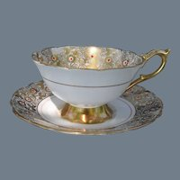 Royal Stafford Gold Red Dots Cabinet Teacup and Saucer