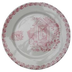 Antique French Country Red Transferware Cat Plate