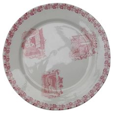 Antique French Country Red Transferware Dog Plate