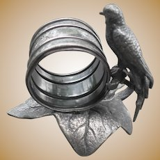 Antique Meriden Co Silverplate Bird Napkin Ring