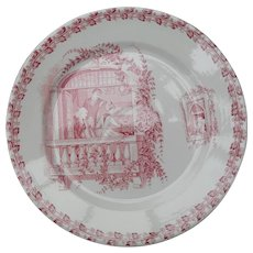 Antique French Country Red Transferware Plate