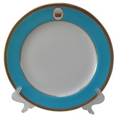 Antique Minton Crown Turquoise Blue Gold Dinner Plate (6)