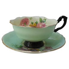 Paragon DW Mint Green Floral and Gold Cabinet Teacup and Saucer S7436