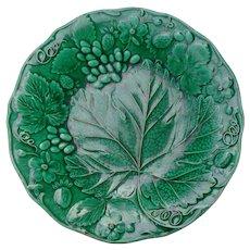 Antique Green Majolica Strawberry Grape Plate