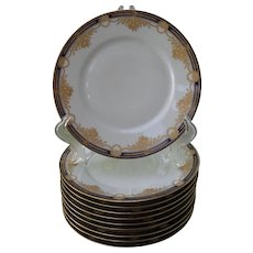 10 Hutschenreuther Hohenberg Bavaria Gold Encrusted Cobalt Dessert Plates CMHR