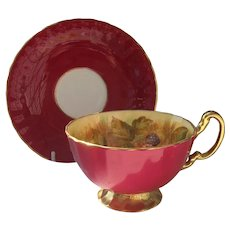 Aynsley Orchard Gold Burgundy Teacup and Saucer Signed Jones