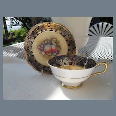 Paragon DW HP Orchard Fruit and Gold Teacup and Saucer Signed Hall