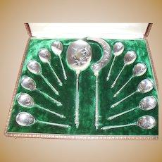Antique French Silver Bonnesoeur Ice Cream Spoon Set