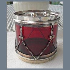 Blackinton Sterling Drum Ruby Condiment Jar