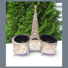 Antique Fraget Silver Double Pan Nymph and Flute Salt Cellar