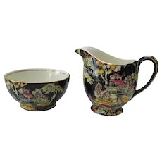 Royal Winton Black Pekin Creamer and Sugar Bowl