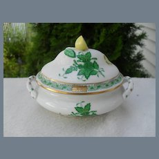 Herend Green Chinese Bouquet Mini Tureen Lemon