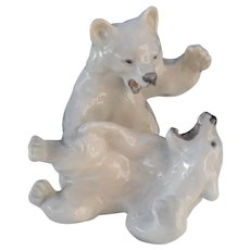 Royal Copenhagen Polar Bear Cubs Playing 1107
