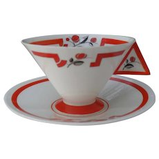 Rare Shelley Coral J Vogue Teacup and Saucer 11739