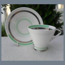 Rare Shelley Eve Green and Silver Demitasse Cup and Saucer