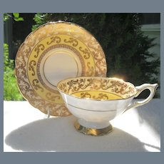 Royal Stafford Yellow and Gold Teacup and Saucer 8552