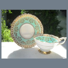 Royal Stafford Turquoise and Gold Teacup and Saucer 8499