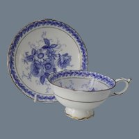 Vintage Paragon Blue and White Teacup and Saucer G6040
