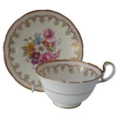 Pretty Aynsley Handpainted Floral Teacup and Saucer