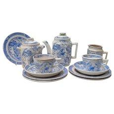 Allerton Blue Aesthetic Transferware 14 Pc Childs Tea Set
