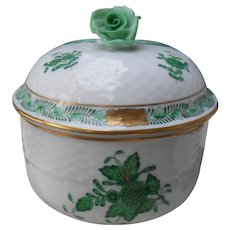 Herend Green Chinese Bouquet Sugar Bowl Rose